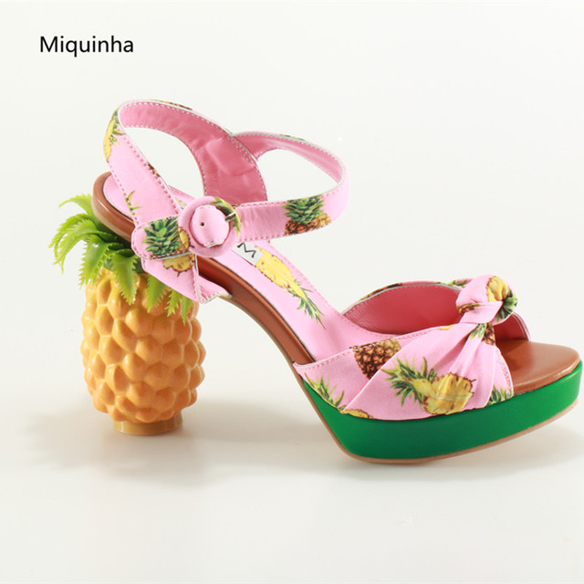 82b204d577d New Arrival Pineapple Print Canvas Sandals High Heels Peep Toe Women  Catwalk Shoes Platforms Summer Ankle