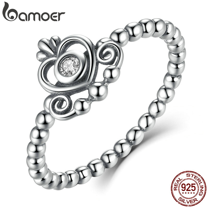 925 Sterling Silver My Princess Queen Crown Stackable Ring with Clear CZ Authentic Jewelry PA7110 пандора браслет с шармами