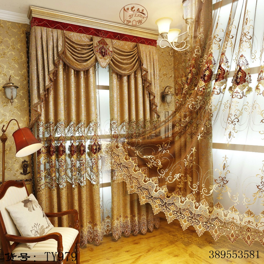 European and american style royal gold luxury curtains for for Art decoration sri lanka
