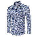 Chino vintage estilo de impresión camisas de los hombres camisa masculina sociales blusas casuales de manga larga para hombre camisa transpirable mq431