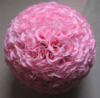SPR 50cm wedding artificial silk flower ball plastic inner pink wedding kissing flower ball decorations