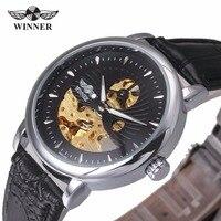 WINNAAR Mannen Business Luxe Auto Mechanische Horloge Lederen Band Analoge Display Uitgeholde Dial Half Skeleton Horloge + Geschenkdoos