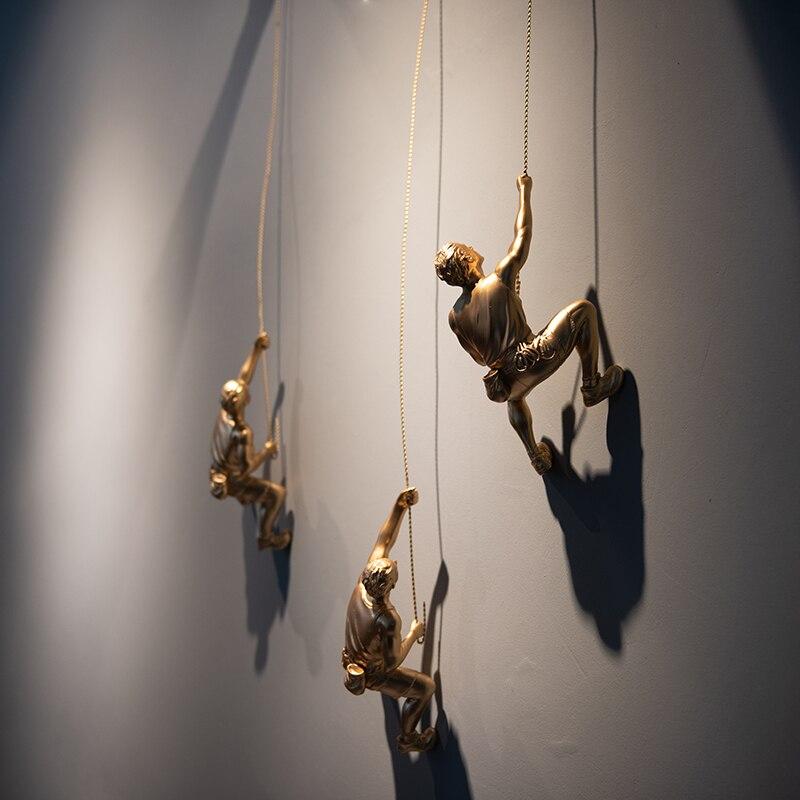 Creative Rock Climbing Men Figure Resin Statue Figurine Oranments Home Decor Sculpture Wall Hanging Decorations