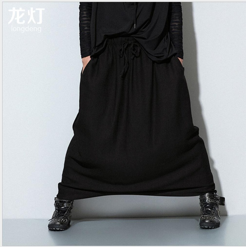 Hot 2020 Spring New Men Hanging Low Crotch Linen Harem Pants Flying Squirrel Singer Stage Costumes Wide Legs Pants