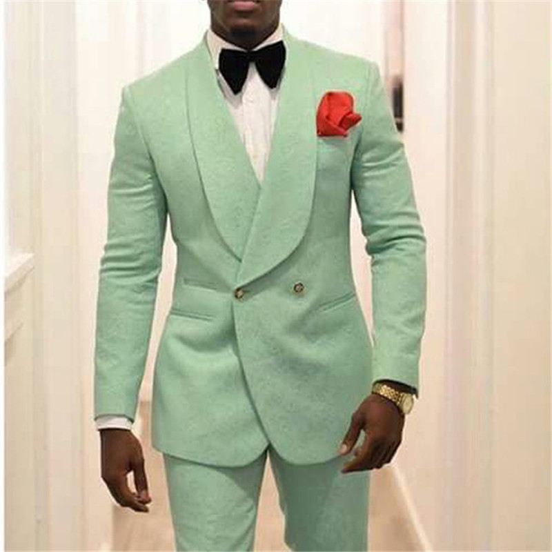 Mint Green Men Groom Tuxedos for Wedding Suit 2019 Shawl Lapel Two Piece Jacket Pants Formal Man Blazer Latest Style