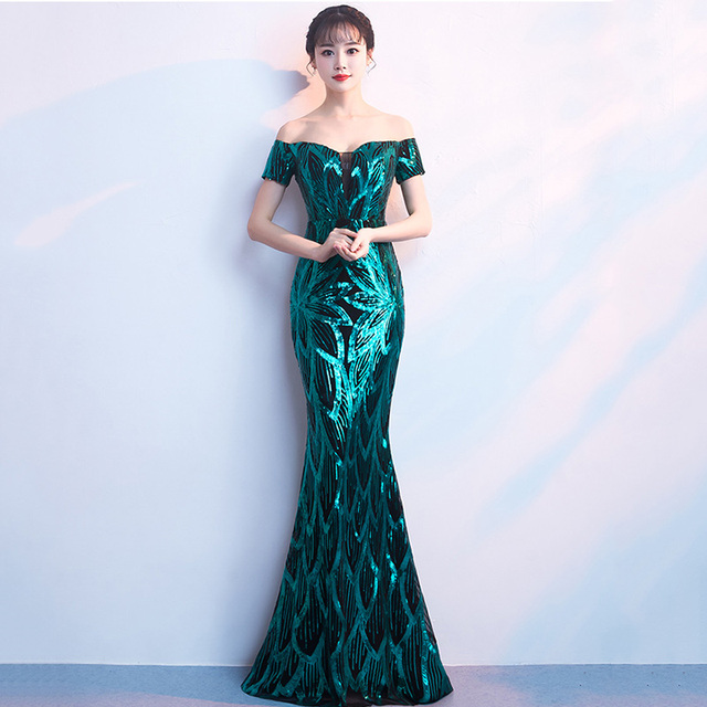 e7ab9d008fd9 Corzzet Elegant Off Shoulder Dresses Green Sequined Leaves Short Sleeve  Slim Long Mermaid Women Clubwears Celebrity
