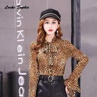 1pcs Ladies Plus size blouses tops 2018 Winter Chiffon Leopard prints Long sleeves Primer shirt women's Skinny Retro shirts