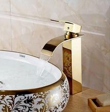 ファッション高品質総真鍮ゴールド仕上げ浴室シンク高滝の蛇口流域蛇口