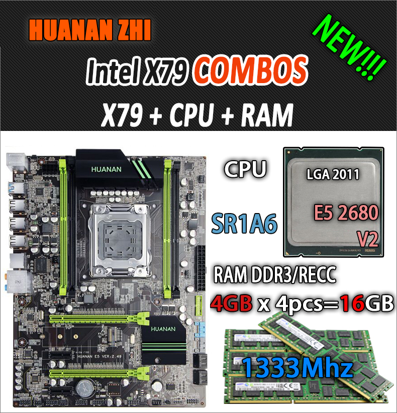 HUANAN ZHI V2.49 X79 placa base LGA2011 ATX combos E5 2680 v2 SR1A6 4x4G 16 GB 1333 Mhz USB3.0 SATA3 PCI-E NVME M.2 SSD