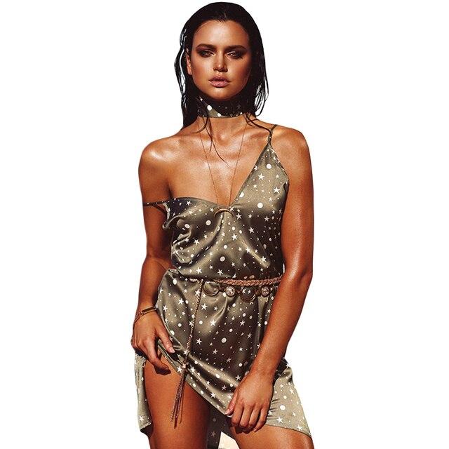 ee6f36416d 2017 Summer Sexy Women Slip Dress Deep V-Neck Choker Spaghetti Strap Silk  Satin Dress Gothic Shiny Party Mini Dress Vestidos