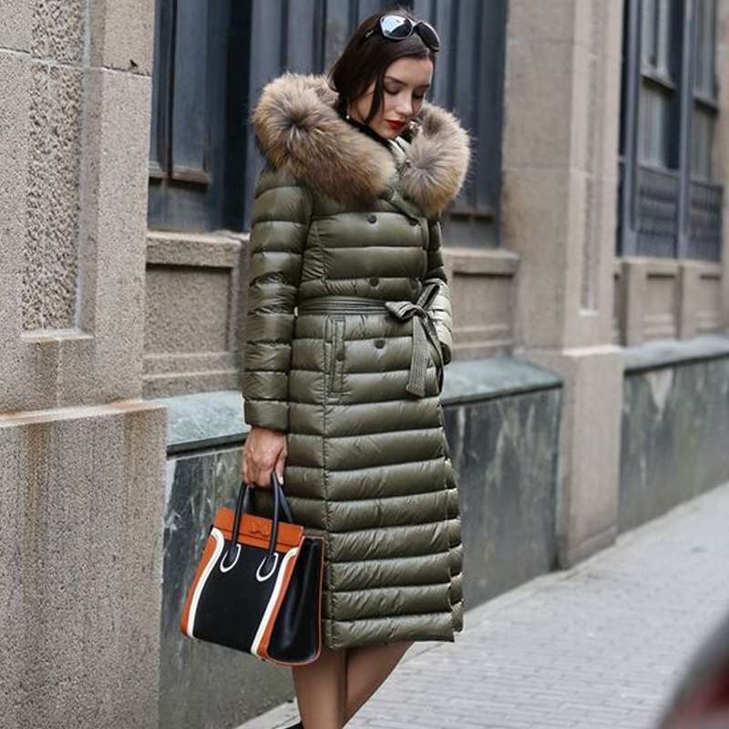 Large Real Natural Fur 2018 Winter Women Ultra Light   Down   Jacket White Duck   Down   Hooded Jackets Warm Slim   Coat   Parka Female