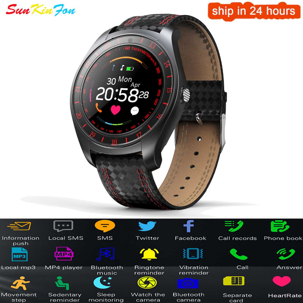 Bluetooth Smart Watch Phone Pedometer Heart Rate Monitor SIM Card Sport <font><b>Smartwatch</b></font> for Huawei Honor 9i Play 10 <font><b>V10</b></font> 9 6A P8 Lite image