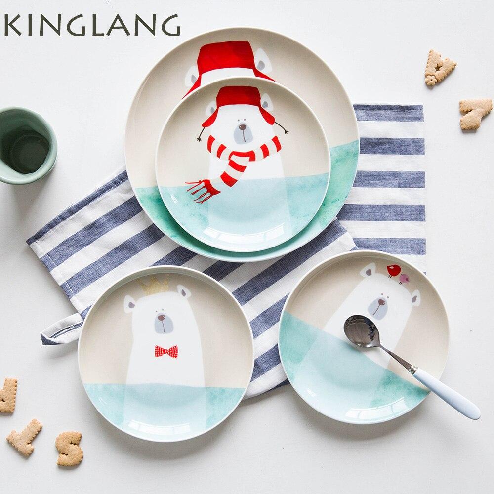 Cute ceramic dinner <font><b>plate</b></font> 6inch bear cartoon children dish Winter procelain natural cactus tree <font><b>plate</b></font> wholesale cheap tableware
