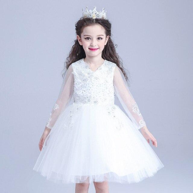 116e7da1f10e Design Eleghant Formal Party Girl Dresses Long Sleeve White Princess ...