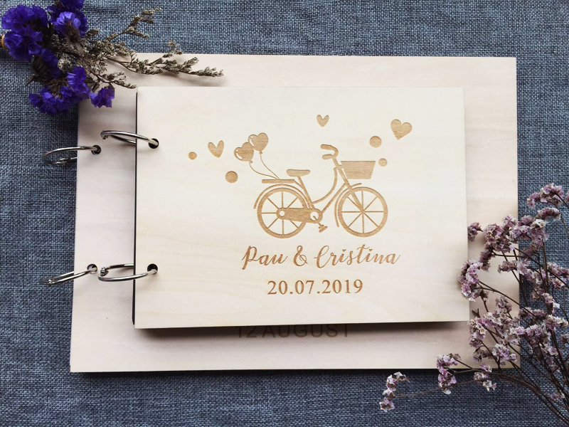Personalized Rustic Wedding  Guest Book Guestbook Custom Wood Engagement Anniversary Gift Memory Album