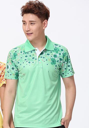 Футболка для настольного тенниса/бадминтона, футболка для бадминтона, ТЕННИСНАЯ СПОРТИВНАЯ ОДЕЖДА Джерси, быстросохнущие дышащие футболки для команды пинг-понга - Цвет: men green shirt