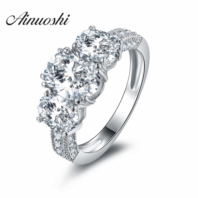 AINOUSHI Luxury Solid 925 Sterling Silver Women Wedding Anniversary Engagement Ring 3 Oval Cut SONA Vintage Style Ring