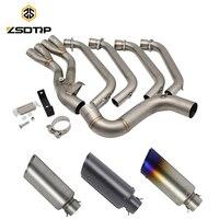 ZSDTRP CBR650 полный выхлоп Системы трубы средней трубы слипоны с Akrapovic Стикеры выхлопных газов для Honda CB650F CBR650F 2014 2017
