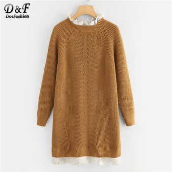 Dotfashion Brown Floral Lace Insert Eyelet Sweater Dress Women Clothes 2019 Autumn Casual Stand Collar Colorblock Straight Dress - DISCOUNT ITEM  40% OFF Women\'s Clothing