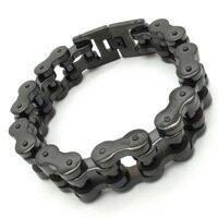 Supernova Sale 18mm Width Men S Cool Black Motorcycle Chain Bracelet Bike Jewelry 316L Stainless Steel