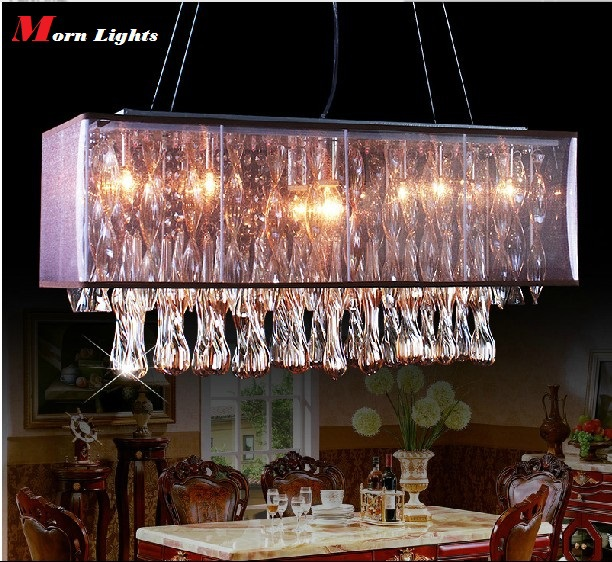 Dining Room Crystal Pendant Lights Red Win Crystal Top Grade Crystal lighting lamp rectangle pendant crystal Dining Room lights a1 master bedroom living room lamp crystal pendant lights dining room lamp european style dual use fashion pendant lamps