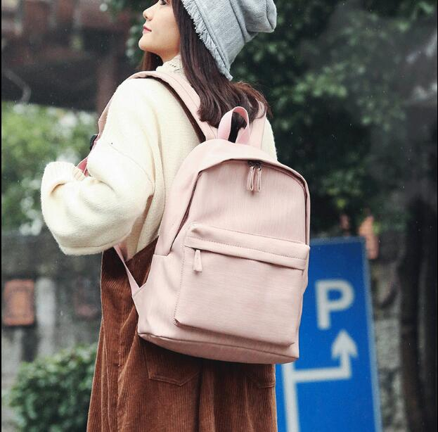 Mori girl backpack Korea new campus PU student bag simple college style travel backpack female