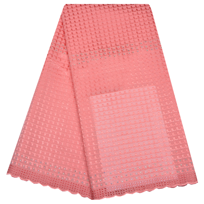 Peach Swiss Lace Fabric Swiss Voile Lace In Switzerland High Quality African Dry Cotton Voile Lace