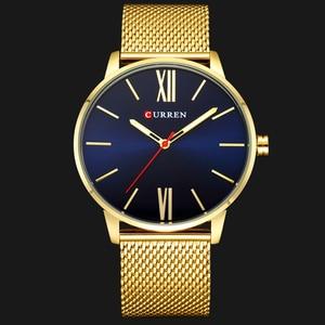 Image 2 - Moda złoty zegarek męski Curren zegarki kwarcowe pełne nierdzewne pasek stalowy Relogio Masculino prosty zegarek na rękę