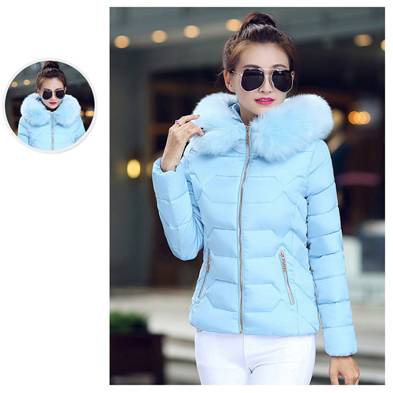 Winter Short Women Jacket Coat Cotton Warm Fur Hooded Parkas Women Outwear Zip Casual Fashion Black Warm Female Coats WT4583 12