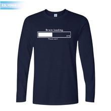 2016 fall Brain Loading Funny Gamer Computer Geek Mens Loose Fit Cotton T Shirt Men long Sleeve T-shirt Top Tees XX