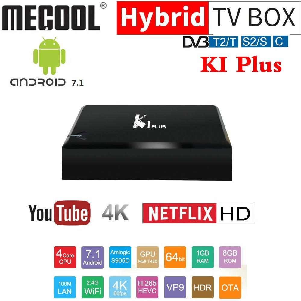 Mecool K1 PLUS Amlogic S905D QuadCore Smart TV BOX Android 7.1 DVB-T2 DVB-S2 DVB-C 4 in 1 Combo TV Box KI PLUS 4K Media Player kii pro android 5 1 1 tv box built in 2 4g