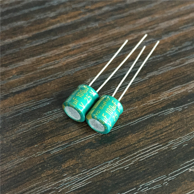 10pcs 100uF 25V SANYO 6.3x7mm Low Profile Good Quality 25V100uF Aluminum Electrolytic Capacitors