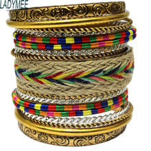 LADYMEE Bracelet Bangles Pulseiras Vintage Metal Ethnic Indian Bangle Bracelets for Women Bohemian Boho Chic Fashion Jewelry