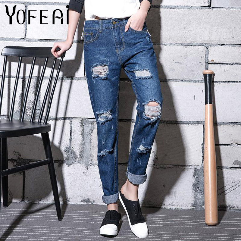 YOFEAI New Jeans Women Denim Harem Pants Hole Boyfriend Pants Ripped Jeans for Women Fashion Loose Female Plus Size 4XL 5XL 2017 new summer barajuku boyfriend style denim capri harem pants for women high waist push up fashion ripped hole jeans trousers
