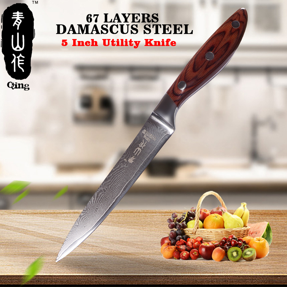QING Brand Damascus Knife 67 Layers Damascus Steel Cooking Tools Color Wood Handle Kitchen knife Professional
