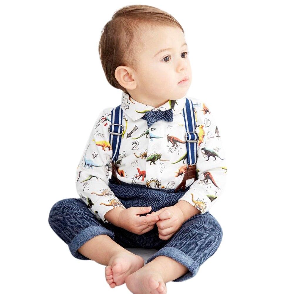 Одежда для малышей Комплект для маленьких мальчиков с принтом динозавра с длинными рукавами хлопковая Футболка штаны с подтяжками комплек...