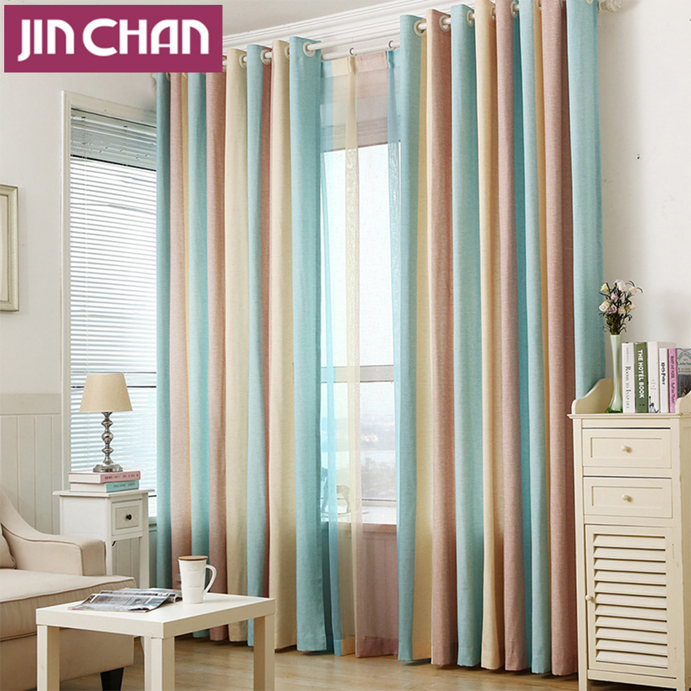 Colorful Living Room Curtains: Modern Style Colorful Strip Design Blackout Window