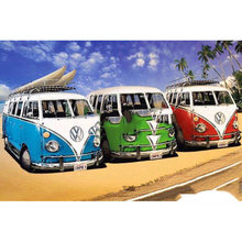 "Full Square/Round Drill 5D DIY Diamond Painting ""Beach car bus"" Embroidery Cross Stitch Home Decor Gift(China)"