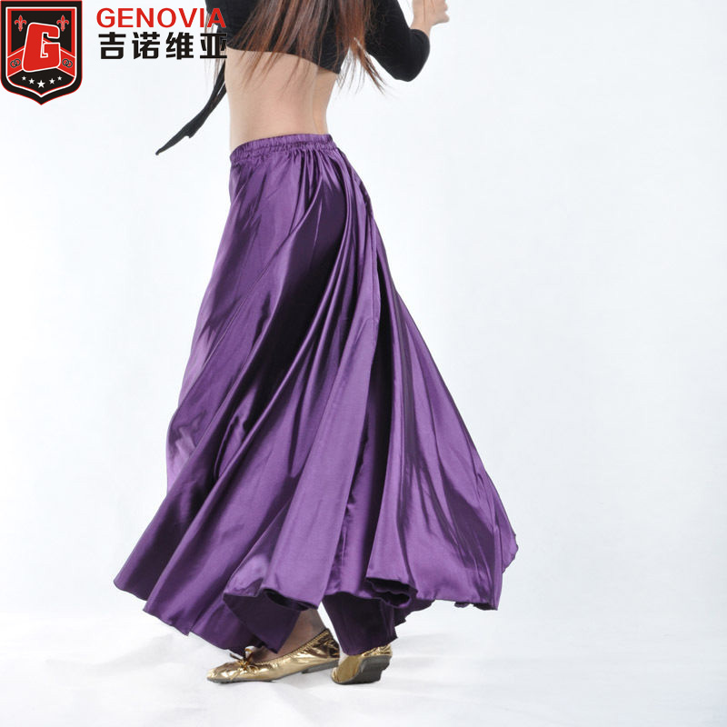 2018 Dancing Belly Dance Costumes Satin Long Skirt Swing Skirts 14 Colors