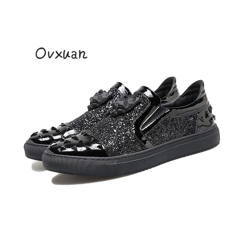 Здесь продается  2017 New Handmade Tiger Head Men Casual shoes with Triangle Design Party and Banquet Men Dress Loafers Fashion Sequins Men Flats  Обувь