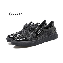 2017 New Handmade Tiger Head Men Casual shoes with Triangle Design Party and Banquet Men Dress Loafers Fashion Sequins Men Flats