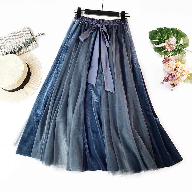Fashion Pleated Skirt Female Casual Lace-Up  women skirt  Vintage Blue Patchwork Tutu Skirt Women High Waist Long Maxi Skirt