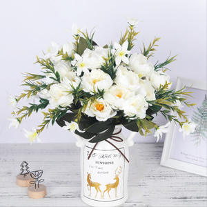Image 1 - artificial peonies flowers silk bouquet for wedding decoration cheap small fake flowers home decor DIY high quality chinese made