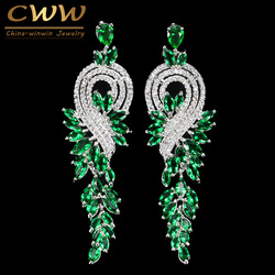 CWWZircons Brand High Quality White Gold Color Austrian Crystal Bridal Long Green Drop Earrings Jewelry For Women CZ376