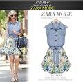 2014 Новые джинсы платья шифон рукавов жилет платье оптовая Европа и Американские модные платья