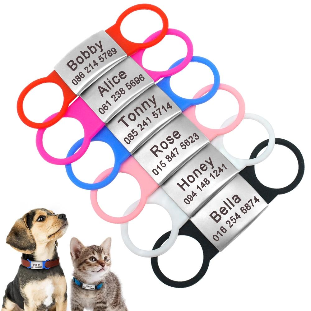 Etiquetas de identificación de acero inoxidable para mascotas personalizadas para perros pequeños gatos placas de identificación grabadas personalizadas para perros sin ruido accesorios para el cuello del perro