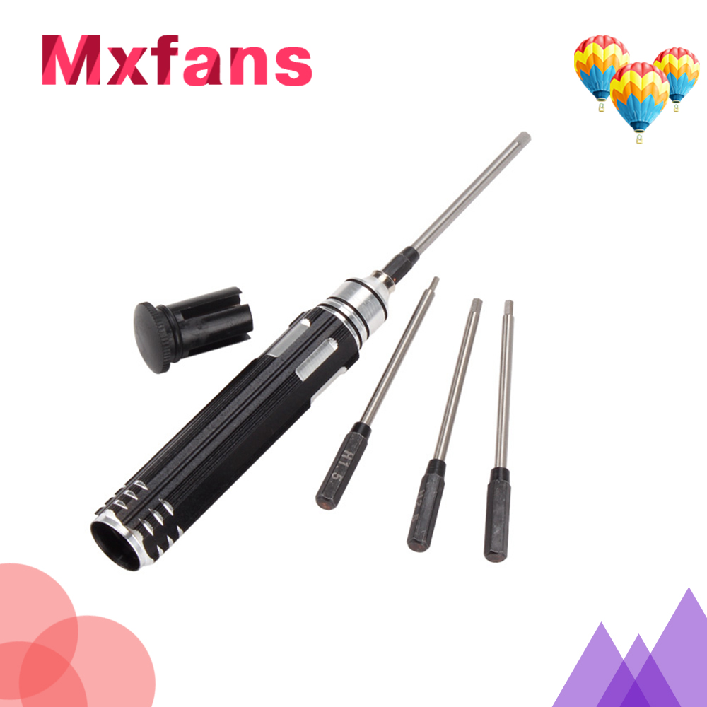 Mxfans 4 x Steel Six Angle Hexagon Screwdriver for RC Car Black 1.5-3.0mm Easy to Use