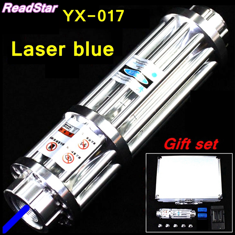 [ReadStar]RedStar YX-017 High power 450nm Blue laser pointer Laser pen burn match solder w/ starry caps laser cannon laser gun newest hight quality 450nm blue light laser pointer pen power beam 5 heads with charger with goggles with box