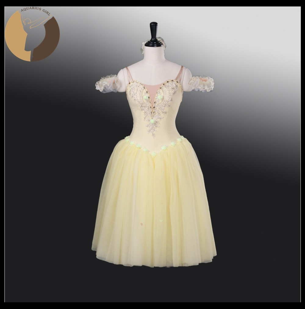 Romantic Tutu Adult Classical Dress For Ballet Test Girls Stage Wear Yellow Color Custom Made Service Kids Dresses AT1264