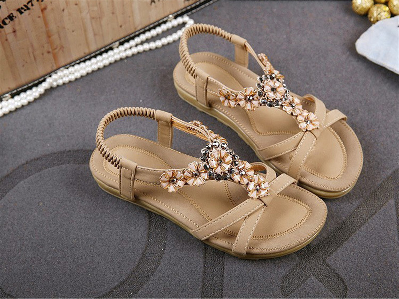HTB1oauPmyCYBuNkHFCcq6AHtVXa4 TIMETANGComfortable Flat Heel Sandals Women Large Size Summer Shoes Woman Bohemia Flowers Rhinestone Beach Ladies Shoes